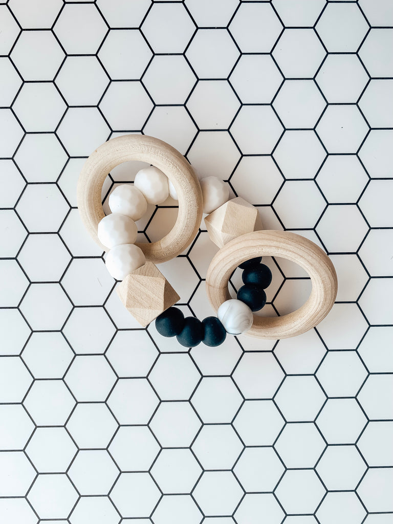 All Natural Teether- Black/White/Marble