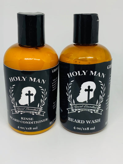 BEARD WASH AND CONDITIONER SET - Holy Man Beard Essentials  facial hair, beard care, beard oil, beard products, skin care