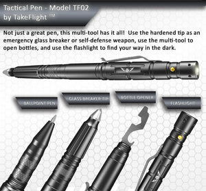 Tactical Pen for Self-Defense with LED Tactical Flashlight + Bottle Opener + Window Breaker