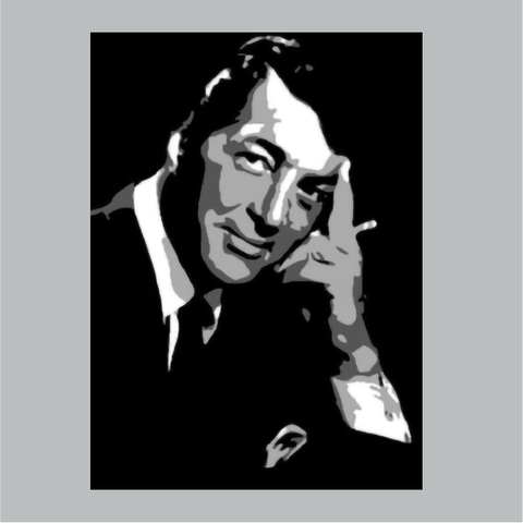 "DEAN MARTIN HAND PAINTED CANVAS POSTER - 12"" X 8"""