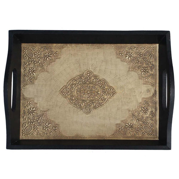 HANDMADE SERVING TRAY WITH EMBOSSED BRASS WORK IN WOOD FRAME BNZ BRAND