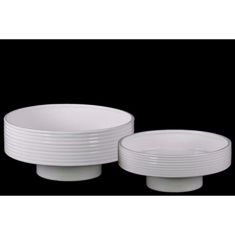 ROUND FLOWER POT WITH DEPRESSED BOTTOM SET OF TWO - WHITE - BNZ