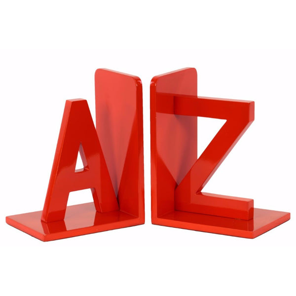 "WOOD ALPHABET SCULPTURE ""AZ"" BOOKEND ASSORTMENT OF 2 - RED - BNZ"