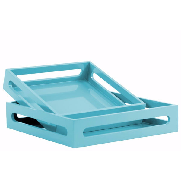 WOOD SQUARE SERVING TRAY WITH CUTOUT HANDLES SET OF 2 - BLUE - BNZ