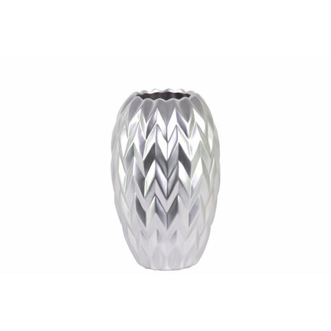 ROUND VASE EMBOSSED WAVE DESIGN AND ROUNDED BOTTOM- SMALL- SILVER- BNZ