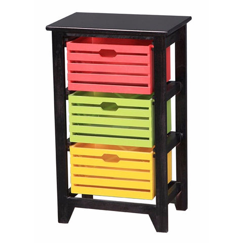 Casey Black 3-Tier Wooden Storage Cabinet