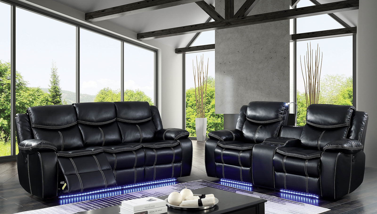 RONSON BLACK FAUX LEATHER POWER RECLINING SOFA W/LED STRIP