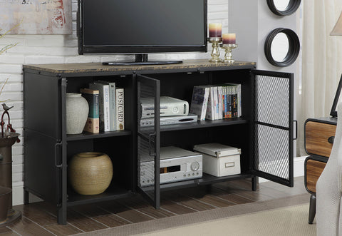 "Russell 47"" Industrial Metal TV Stand With Wood Top"