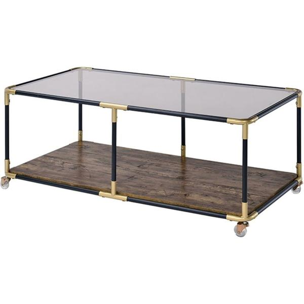 LASKY BLACK & GOLD METAL GLASS TOP COFFEE TABLE