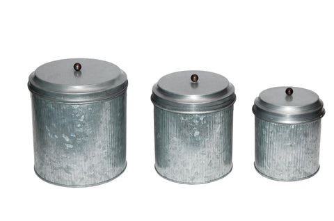 BNZ BM82052 GALVANIZED METAL LIDDED CANISTER WITH RIBBED PATTERN, SET OF THREE, GRAY