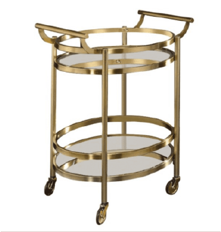 Milton Gold and Glass Bar Cart
