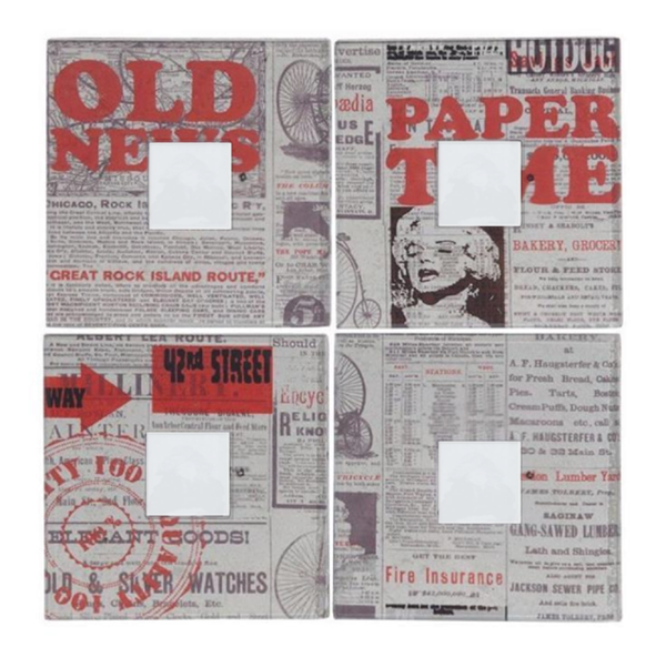 NEWSPAPER PRINT PHOTO FRAMES - SET OF 4