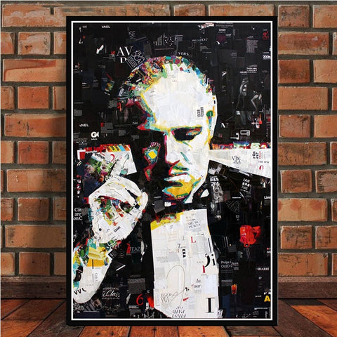 PAINTINGS ART RETRO MARLON BRANDO THE GODFATHER MOVIE ACTOR POSTER AND PRINTS CANVAS WALL PICTURES FOR LIVING ROOM HOME DECOR