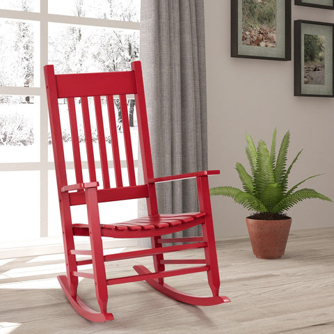 PORCH ROCKER DECK PATIO BACKYARD SOLID WOOD ROCKING CHAIR-RED