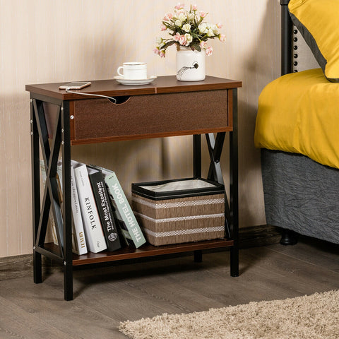 FLIP TOP END TABLE SOFA SIDE CONSOLE TABLE-COFFEE
