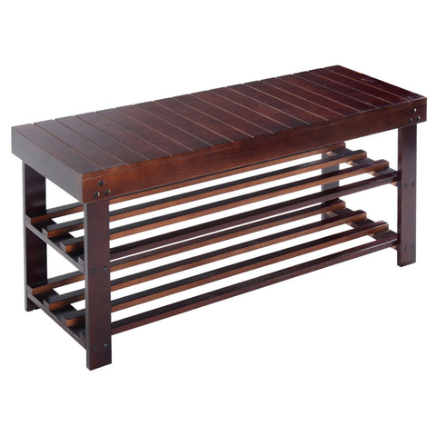 "6"" SOLID WOOD SHOE BENCH STORAGE RACK"