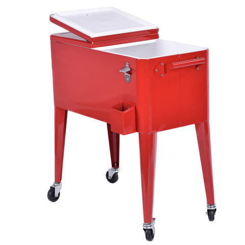RED PORTABLE OUTDOOR PATIO COOLER CART