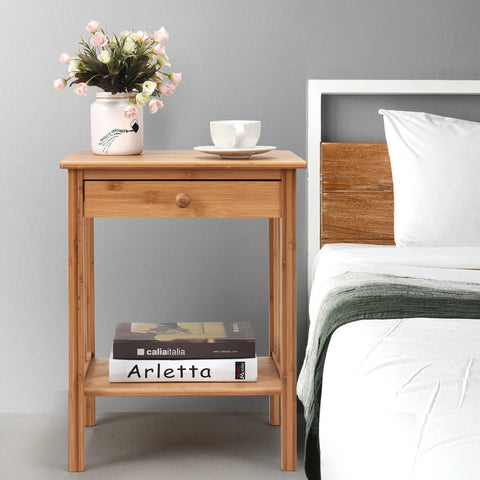 MULTIPURPOSE BAMBOO NIGHTSTAND END TABLE STORAGE SHELF