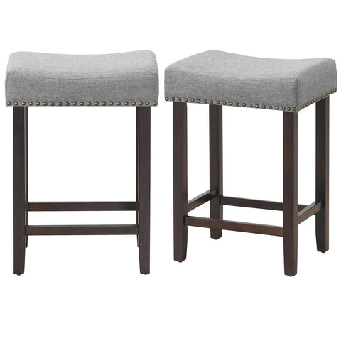 MARTINE GRAY UPHOLSTERED NAILHEAD COUNTER HEIGHT CHAIRS - SET OF 2