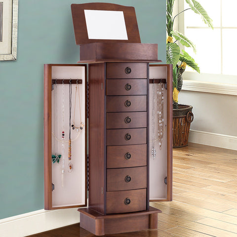 WOOD ARMOIRE STORAGE CHEST BOX STAND JEWELRY CABINET