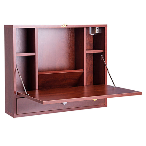 WALL MOUNTED FOLDING LAPTOP DESK HIDEAWAY STORAGE WITH DRAWER-BROWN