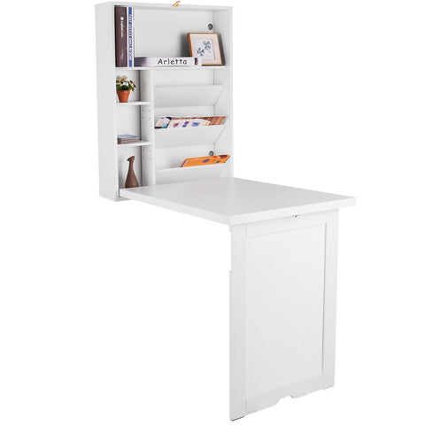 WALL MOUNTED FOLD-OUT CONVERTIBLE FLOATING DESK SPACE SAVER-WHITE