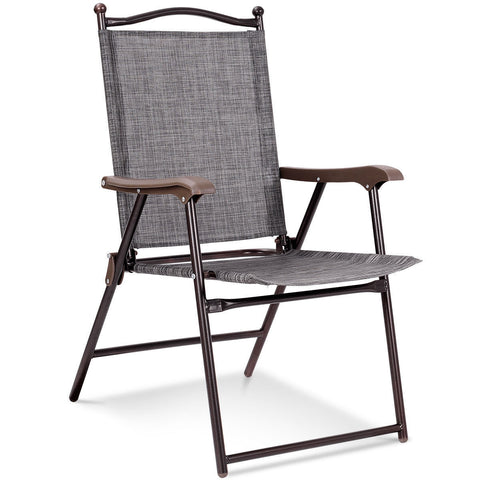 SET OF 2 PATIO FOLDING SLING BACK CAMPING DECK CHAIRS-GRAY
