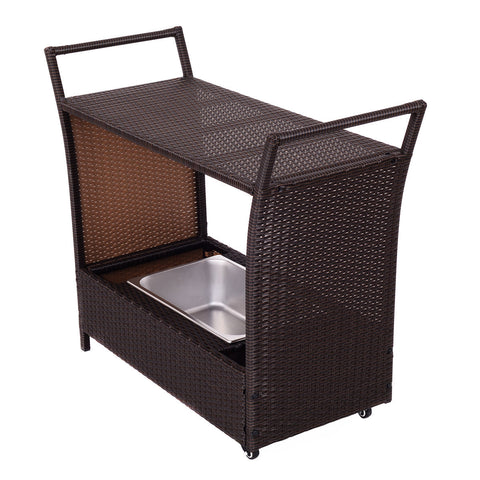 RATTAN PATIO ROLLING KITCHEN TROLLEY CART WITH STORAGE BOX