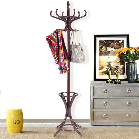 WOOD STANDING HAT COAT RACK W/ UMBRELLA STAND-BROWN