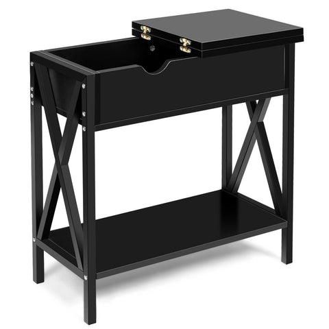 FLIP TOP END TABLE SOFA SIDE CONSOLE TABLE-BLACK