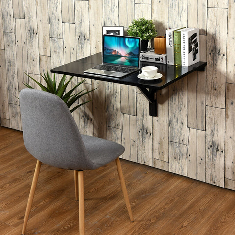 SPACE SAVER FOLDING WALL-MOUNTED DROP-LEAF TABLE-BLACK