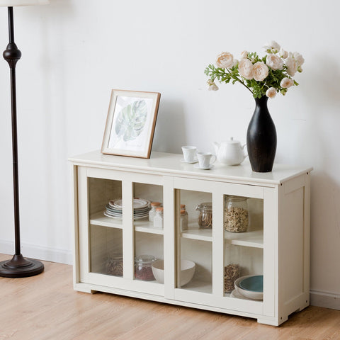 SIDEBOARD BUFFET CUPBOARD STORAGE CABINET WITH SLIDING DOOR-WHITE