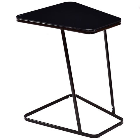 MODERN C SHAPE GLASS STEEL ACCENT END TABLE
