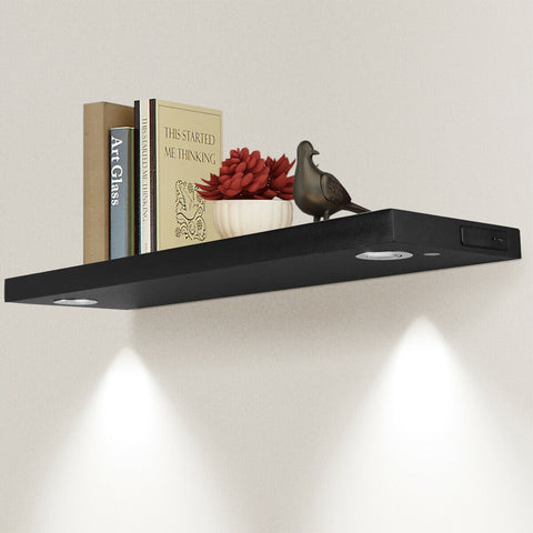 "32""L BLACK/WHITE WALL MOUNT SHELF WITH LED LAMP-BLACK"