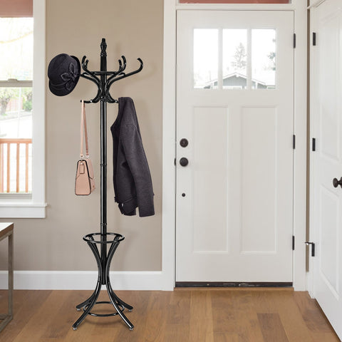 WOOD STANDING HAT COAT RACK W/ UMBRELLA STAND-BLACK
