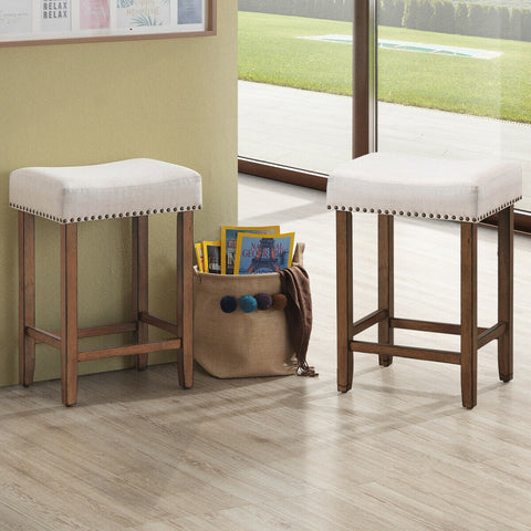Martine Beige Upholstered Nailhead Counter Height Chairs - Set of 2