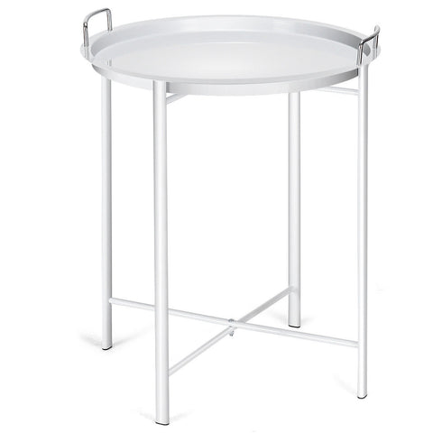 METAL TRAY TABLE ROUND END TABLE SOFA SIDETABLE LIVING ROOM BEDROOM BLACK-WHITE