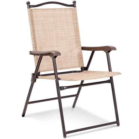 SET OF 2 PATIO FOLDING SLING BACK CAMPING DECK CHAIRS-BEIGE