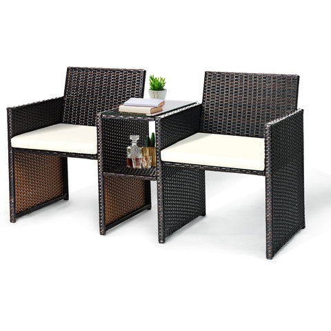 PATIO RATTAN CONVERSATION CUSHIONED SEAT SOFA SET