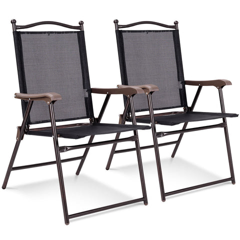 SET OF 2 PATIO FOLDING SLING BACK CAMPING DECK CHAIRS-COFFEE