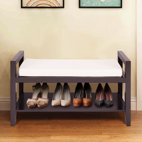 WOOD SHOE STORAGE RACK BENCH WITH OTTOMAN CUSHION SEAT