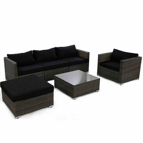 RATTAN WICKER PATIO SOFA SET WITH BLACK CUSHION