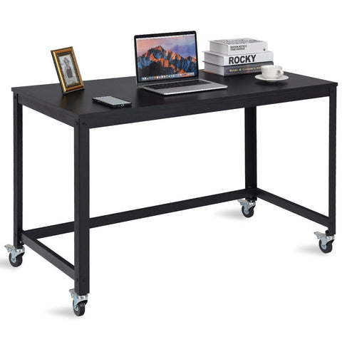 WOOD TOP METAL FRAME ROLLING COMPUTER DESK LAPTOP TABLE-BLACK