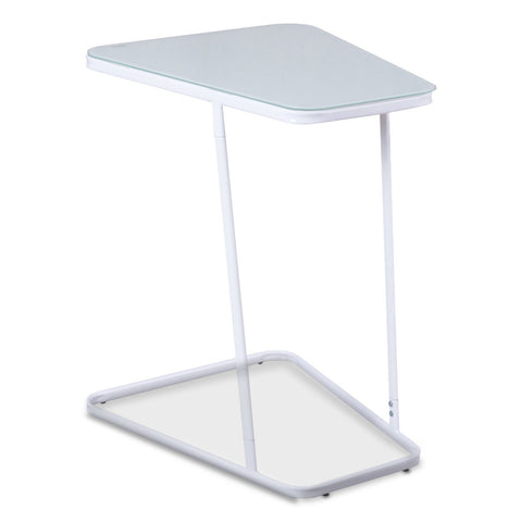 MODERN C SHAPE GLASS STEEL ACCENT END TABLE-WHITE