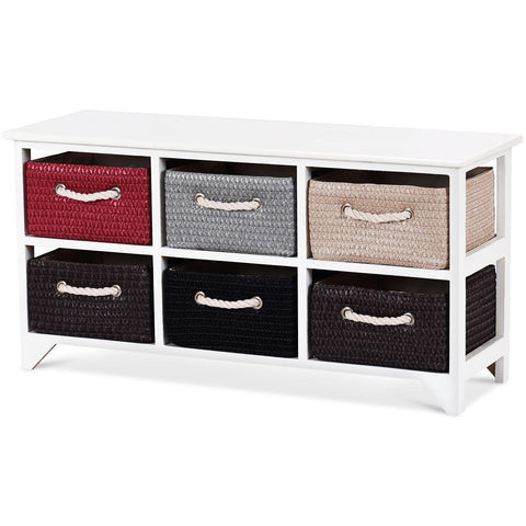 WOODEN BASKET STORAGE CHEST WITH 6 DRAWER BASKETS