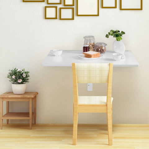 SPACE SAVER FOLDING WALL-MOUNTED DROP-LEAF TABLE-WHITE