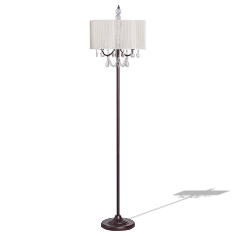 GENEVIEVE SHEER SHADE FLOOR LAMP W/ FAUX CRYSTALS