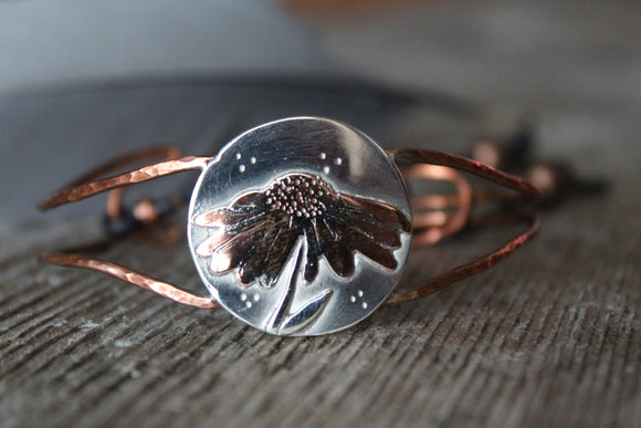 Copper and Silver Daisy Statement Bracelet