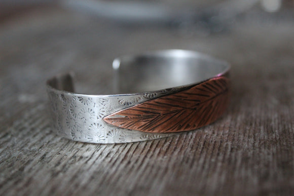 Sterling Silver & Copper Feather/Leaf  Bracelet