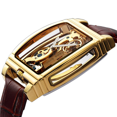 Luxury Gear Self Winding Leather Men Watch